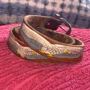 Vintage Embossed Leather Belt with Painted Eagles